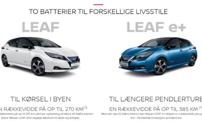 Nissan LEAF for under 215.000 kr.