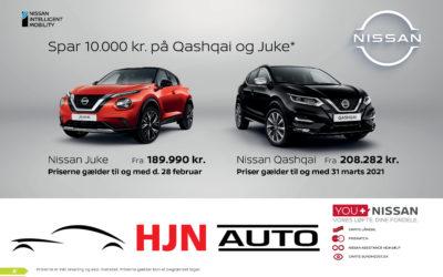 Spar 10.000 kr på Qashqai og Juke